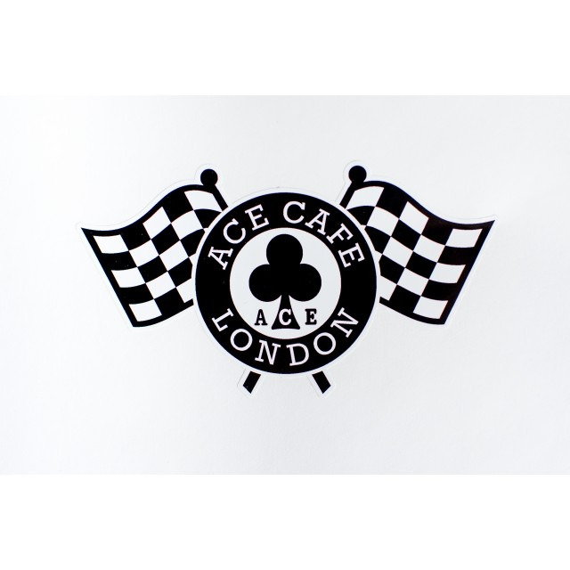 Ace Cafe London Chequered Flag inside window sticker