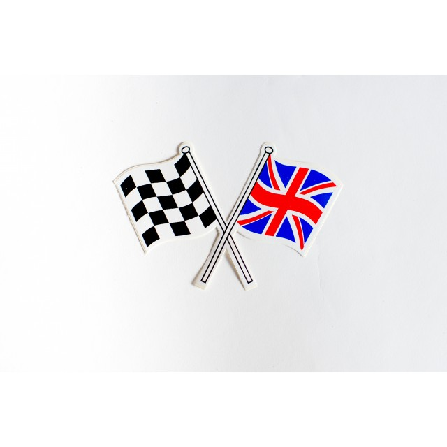 Crossed Union Jack/Chequered Flag Sticker